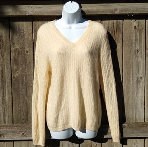 Cashmere Cream Sweater Cableknit V-neck Sweater